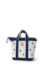 Embroidered Small Canvas Zip Top Tote Bag