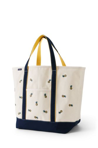 Large Embroidered Open Top Tote Bag