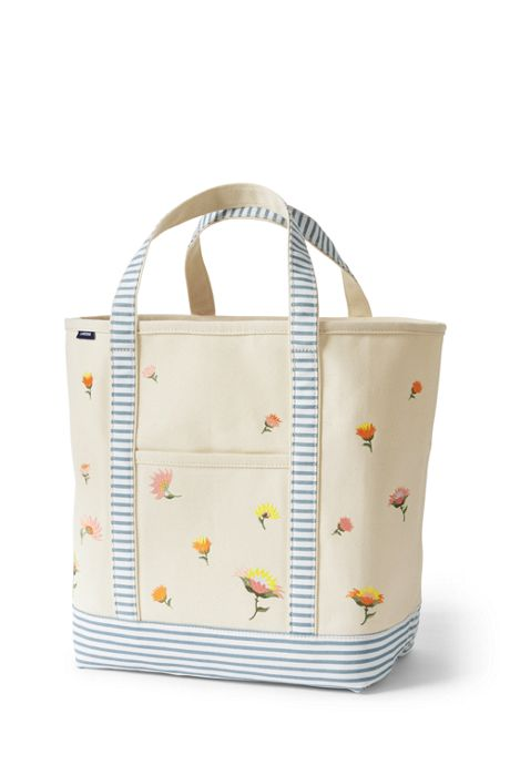 Embroidered Large Canvas Open Top Tote Bag