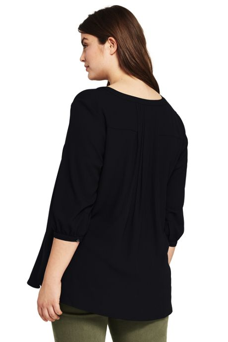 Women's Plus Size Pleat Back Half Placket Tunic