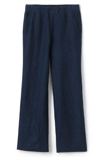 Le Pantalon Large en Lin Lavé Taille Mi-Haute, Femme Grande Taille