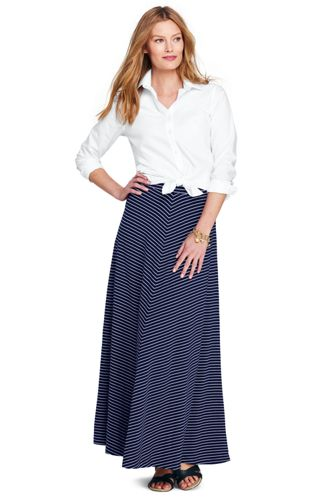 Women's Striped Jersey Maxi Skirt