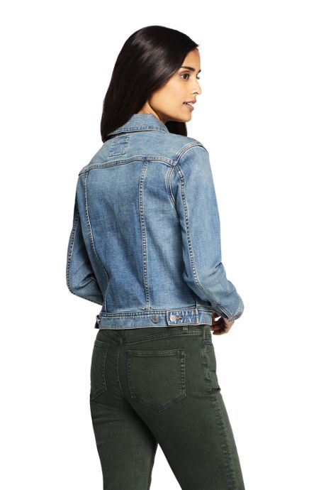 Women's Petite Long Sleeve Denim Jacket