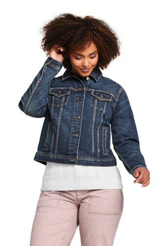 Women S Plus Size Long Sleeve Denim Jacket From Lands End