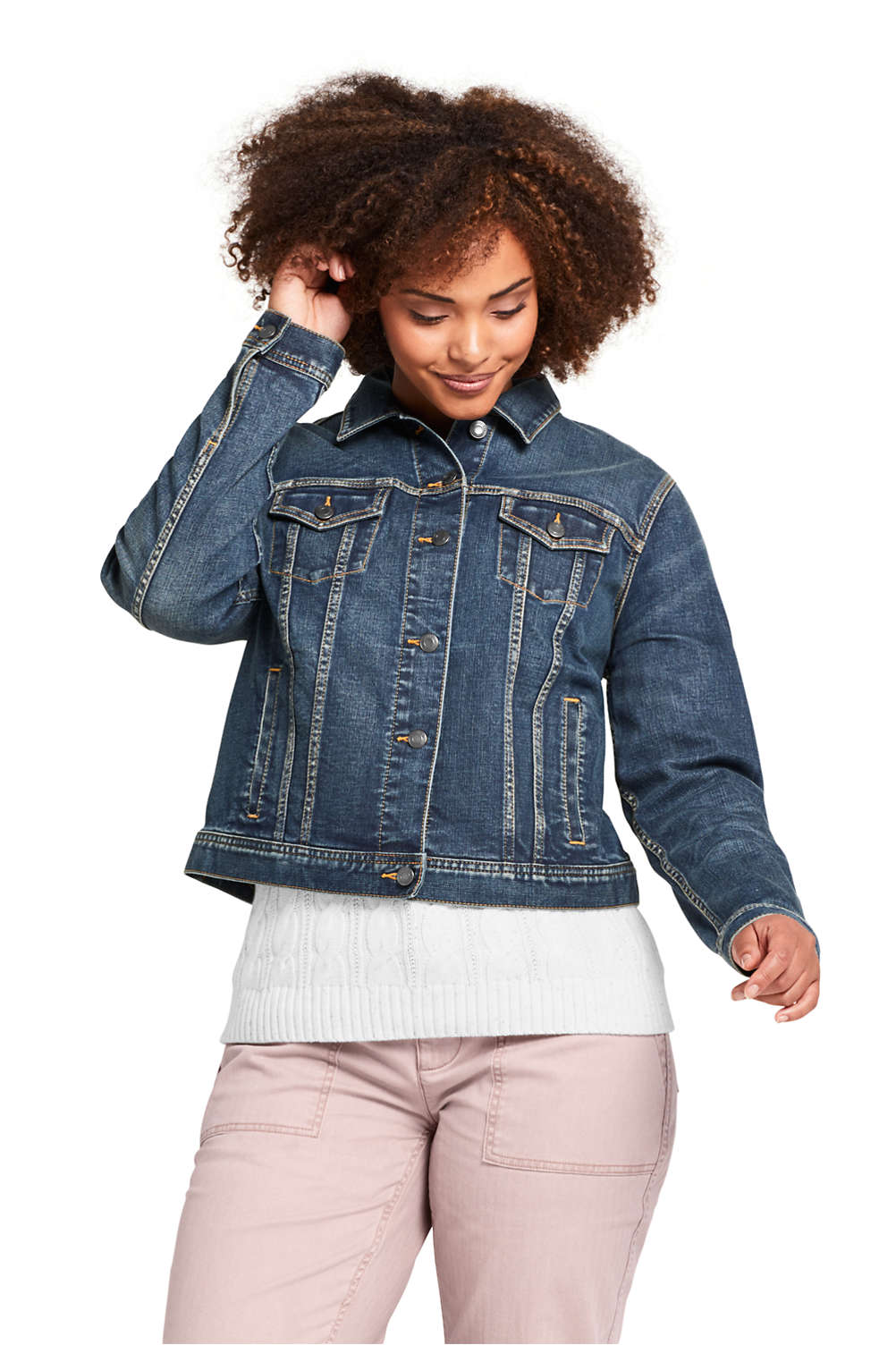 Women s Plus Size Long Sleeve Denim Jacket from Lands  End a70b49b31e