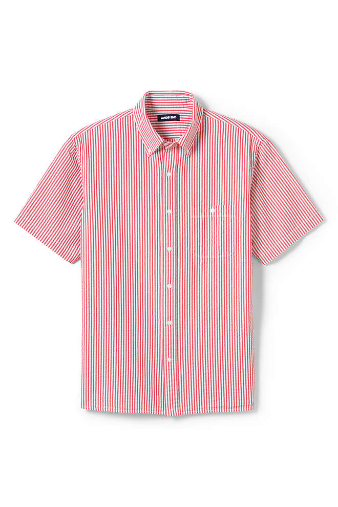 Men's Tall Traditional Fit Short Sleeve Seersucker Shirt, Unknown
