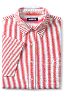 Men's Tall Traditional Fit Short Sleeve Seersucker Shirt, Front