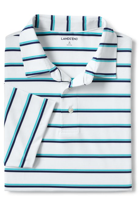 Men's Tailored Short Sleeve Striped Performance Golf Polo