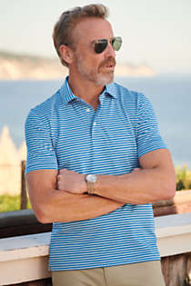Men's Short Sleeve Stripe Comfort-First Golf Polo Shirt, Unknown