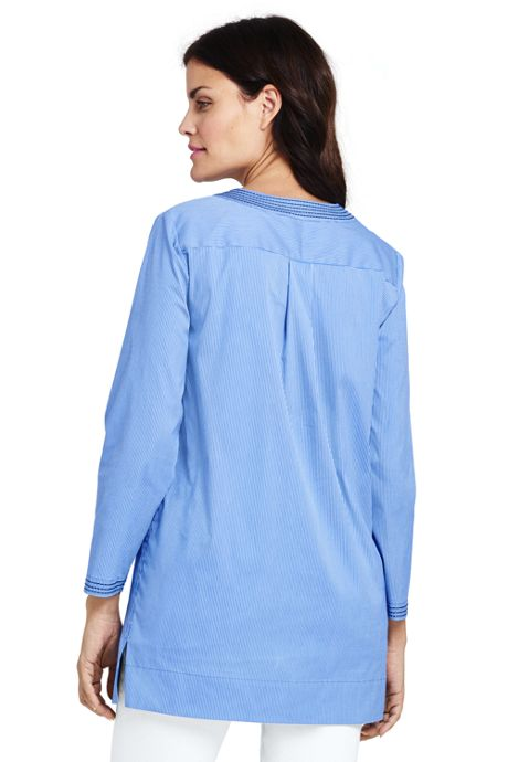 Women's Poplin Bracelet Sleeve Tunic Shirt