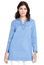 Women's Petite Poplin Bracelet Sleeve Tunic Shirt