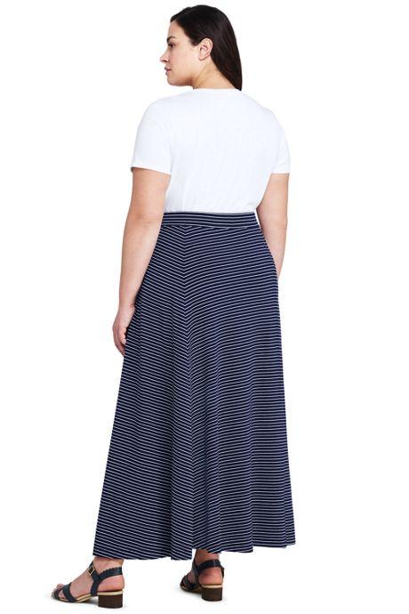 Women's Plus Size Stripe Maxi Skirt