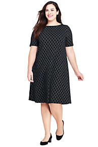 Womens Cold Shoulder A-line Ponte Dress - 10 -12 - BLACK Lands End WtARZ1