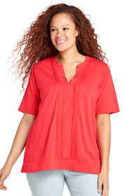 Women's Plus Size Pintuck Front V-neck Top