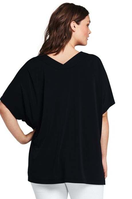 Women's Plus Size Double V-neck Dolman Sleeve Top