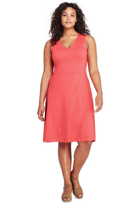 Women's Plus Size Sleeveless Ponte Aline Dress