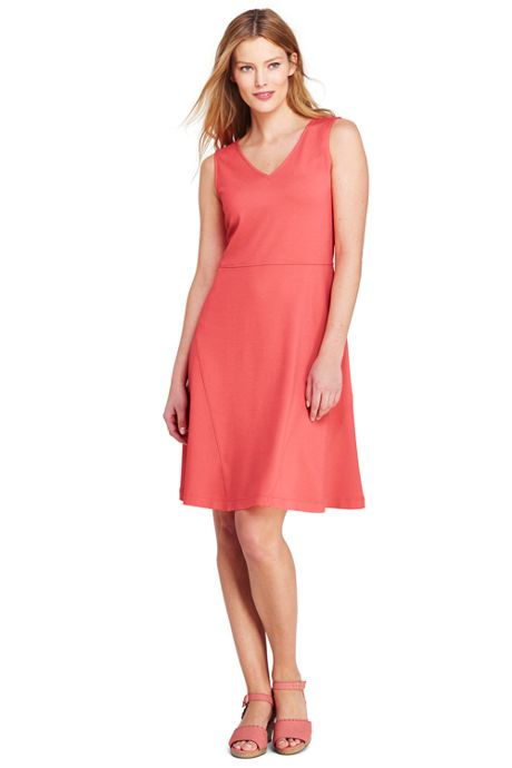 Women's Petite Sleeveless Ponte Aline Dress