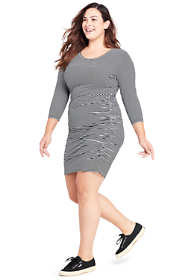 Women's Plus Size 3/4 Sleeve Shirred Side Dress