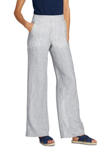 Women's Petite Wide Leg Trousers in Striped Linen