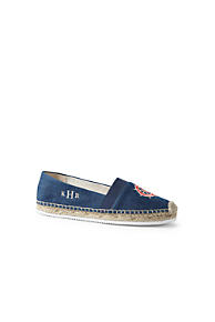Womens Embroidered Espadrilles - 4.5 - BLUE Lands End KuRRoML2Vw