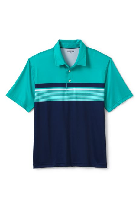 Men's Short Sleeve Printed Stripe Performance Golf Polo