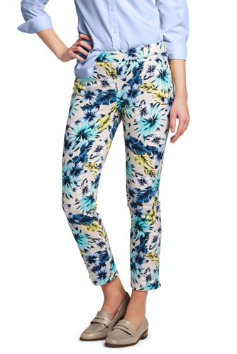 Women's Bi-stretch Patterned Cropped Trousers