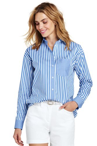 Women's Stretch Cotton Shirt, Stripe