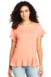 Women's Ruffle Top with Scoop Neck