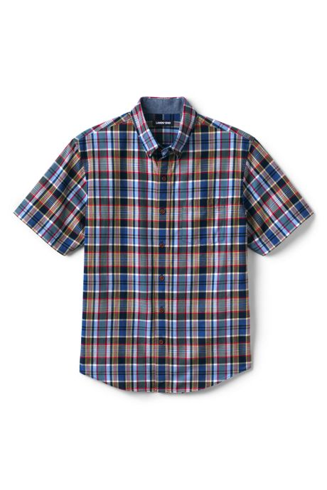Men's Tall Tailored Fit Short Sleeve Madras Shirt
