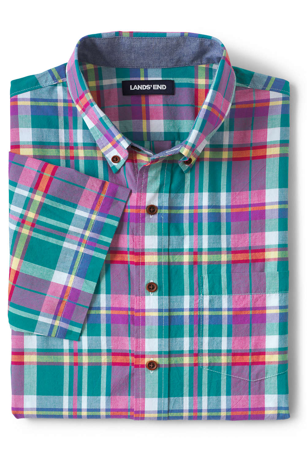 Men s Short Sleeve Madras Shirt from Lands  End 7ad638fe534f