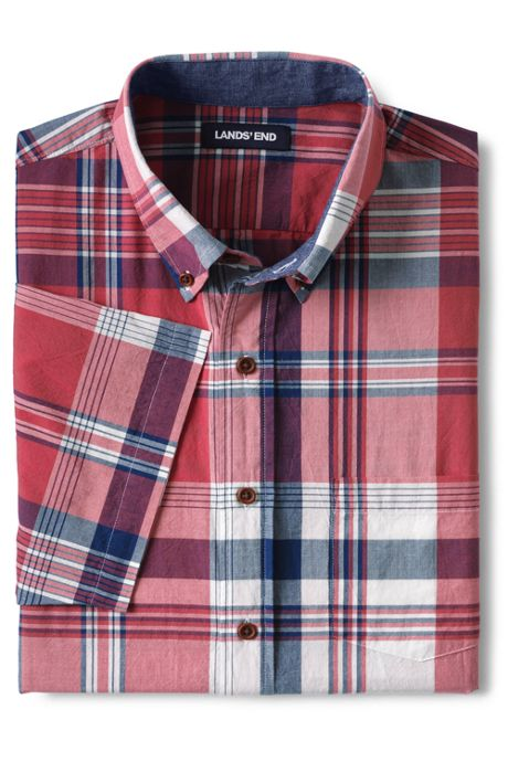 Men's Traditional Fit Short Sleeve Madras Shirt