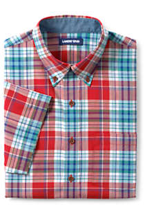 Men's Big and Tall Traditional Fit Short Sleeve Madras Shirt, Front