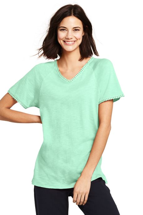Women's Petite Starfish Trimmed Dolman Sleeve V-neck Tunic