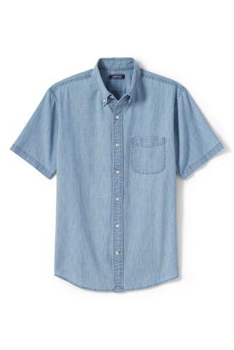 La Chemise Chambray à Manches Courtes et Col à Pointes Boutonnées, Homme Stature Standard