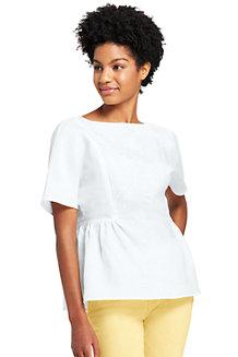Besticktes Leinenshirt für Damen in Normalgröße