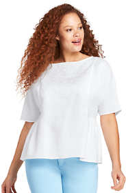 Women's Plus Size Embroidered Linen Top