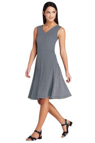 Women's Sleeveless Patterned Ponte Dress