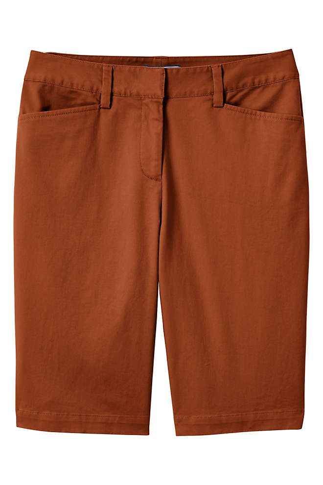 "Women's Plus Size Mid Rise 12"" Chino Bermuda Shorts, Front"
