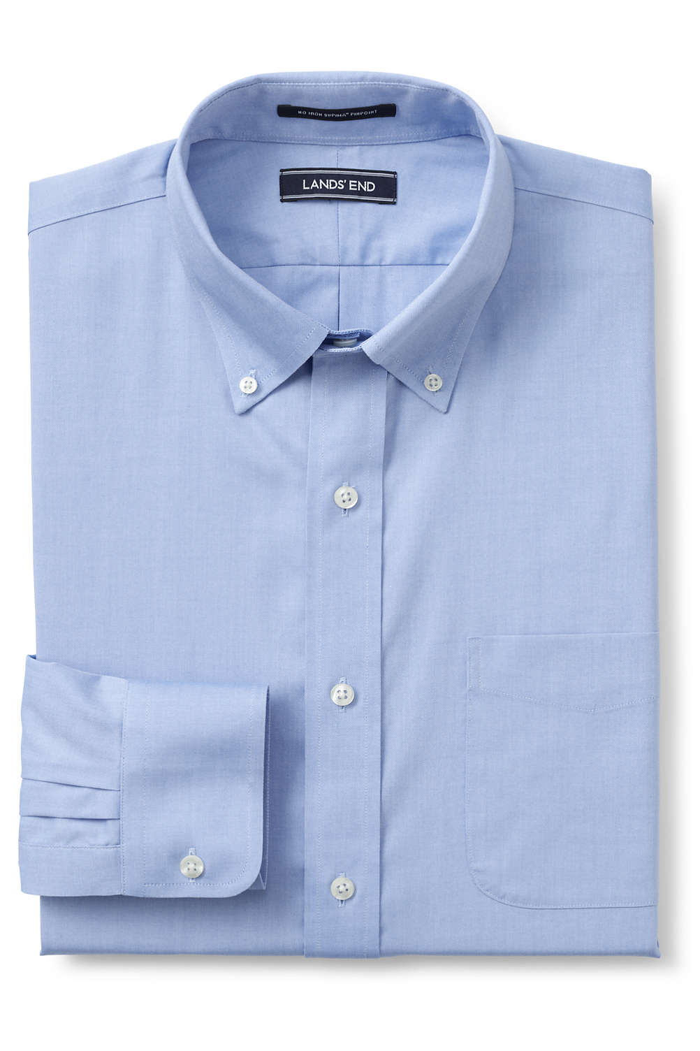 Men S Comfort Collar No Iron Supima Pinpoint Shirt From Lands End