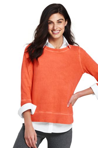 Women's Ribbed Cotton Crew Neck Sweatshirt