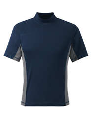 Men's Short Sleeve Mock Neck Swim Tee Rash Guard