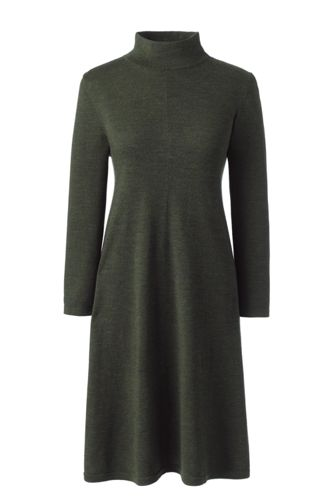 Women's Merino Wool Knitted Dress with Polo Neck