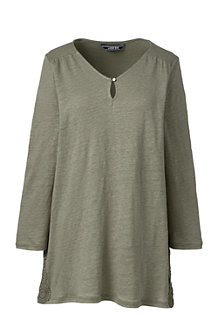 Women's Crochet Trim Linen Top