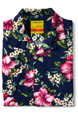 Men's Traditional Fit Short Sleeve Hoffman Floral Vacation Collar Shirt by Lands' End