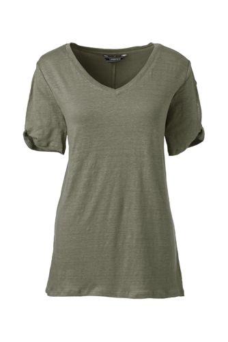 Le T-Shirt en Lin à Manches Courtes Échancrées et Torsadées, Femme Stature Standard