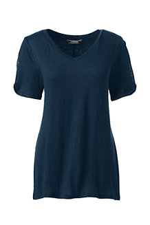 Women's Linen Split Sleeve T-shirt