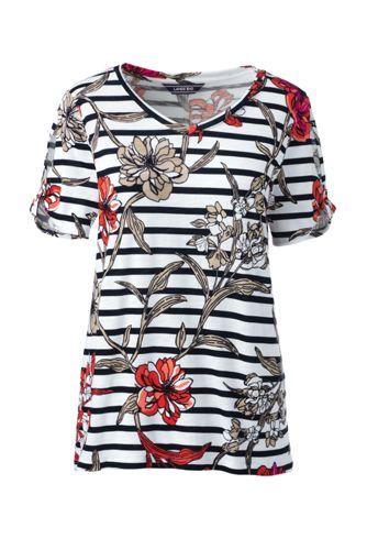 Le T-Shirt Imprimé à Manches Courtes Échancrées et Torsadées, Femme Stature Standard