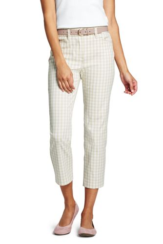 Women's Cropped Trousers, Gingham Check