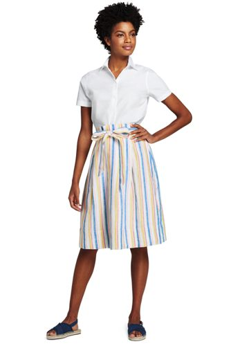 Women's Striped Linen A-line Skirt