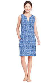 Womens Embroidered Cotton Cover-up - 10 -12 - BLUE Lands End Discounts Sale Online 4PdbLo
